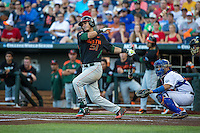 Brandon Lopez (51) of the Miami Hurricanes bats during a game between the Miami Hurricanes and Florida Gators at TD Ameritrade Park on June 13, 2015 in Omaha, Nebraska. (Brace Hemmelgarn/Four Seam Images)