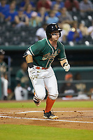 Cameron Baranek (7) of the Greensboro Grasshoppers hustles down the first base line against the West Virginia Power at First National Bank Field on June 1, 2018 in Greensboro, North Carolina. The Grasshoppers defeated the Power 10-3. (Brian Westerholt/Four Seam Images)