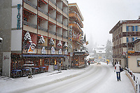 Grindelwald town with Hotel Eiger  in the winter snow. Ski resort - Swiss Alps