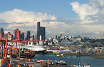 Seattle, Port of Seattle, waterfront, Cruise ships, Container Ships, Seattle skyline, Puget Sound,