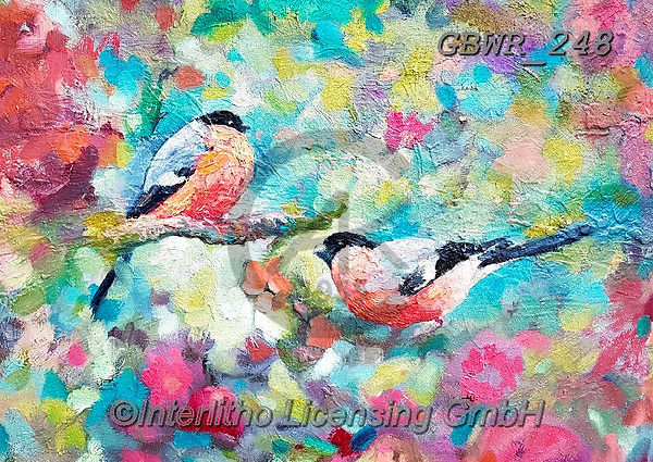 Simon, REALISTIC ANIMALS, REALISTISCHE TIERE, ANIMALES REALISTICOS, innovative, paintings+++++A_SueG_Bullfinches,GBWR248,#a#, EVERYDAY