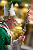 Pope Francis  during  the mass New Cardinals in  St. Peter's Basilica at the Vatican on February 23, 2014