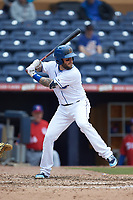 Brandon Snyder (7) of the Durham Bulls at bat against the Buffalo Bison at Durham Bulls Athletic Park on April 25, 2018 in Allentown, Pennsylvania.  The Bison defeated the Bulls 5-2.  (Brian Westerholt/Four Seam Images)