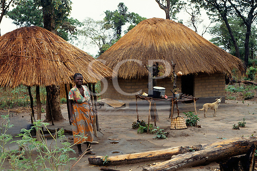 Lukulu, Zambia, Africa. Young woman outside her village house and kitchen with her dog.