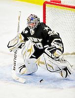 2 January 2011: Army Black Knight goaltender Ryan Leets, a Sophomore from Kentwood, MI, in action against the Ohio State University Buckeyes at Gutterson Fieldhouse in Burlington, Vermont. The Buckeyes defeated the Black Knights 5-3 to win the 2010-2011 Catamount Cup. Mandatory Credit: Ed Wolfstein Photo