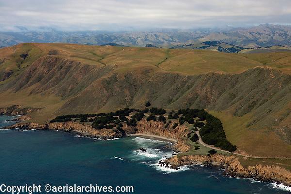 aerial photograph of Natali's Cove, a public beach in San Luis Obispo County, California