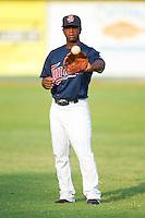 Jamaal Hawkins #12 of the Elizabethton Twins at Joe O'Brien Field August 14, 2010, in Elizabethton, Tennessee.  Photo by Brian Westerholt / Four Seam Images