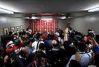 Post game press conference. Costa Rica defeated U.S. Men's National Team 3-1 on June 3, 2009 at Saprissa Stadium in San Jose, Costa Rica..