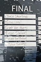 Final Scoreboard.   Mavericks Surf Contest 2008.  Half Moon Bay, Ca.  January 12, 2008.