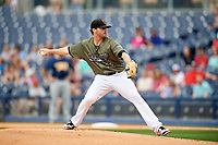 Nashville Sounds starting pitcher Zach Neal (22) delivers a pitch during a game against the New Orleans Baby Cakes on April 30, 2017 at First Tennessee Park in Nashville, Tennessee.  The game was postponed due to inclement weather in the fourth inning.  (Mike Janes/Four Seam Images)