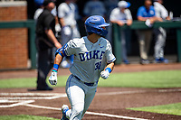Duke Blue Devils catcher Michael Rothenberg (38) jogs to first base against the Wright State Raiders in NCAA Regional play on Robert M. Lindsay Field at Lindsey Nelson Stadium on June 5, 2021, in Knoxville, Tennessee. (Danny Parker/Four Seam Images)