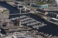 Aerial view of the Sail bridge connecting the Marina and SA1 areas in Swansea