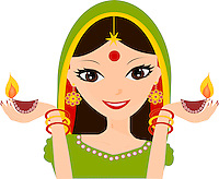 Pretty Indian girl holding Diwali diyas in hands wearing traditional Indian dress, vector illustration isolated on white background.<br /> <br /> This image is also available as scalable EPS and PNG format(with transparent background).