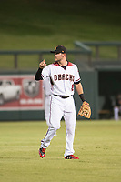 Salt River Rafters shortstop Jack Reinheimer (8), of the Arizona Diamondbacks organization, communicates with the outfielders during a game against the Mesa Solar Sox on October 17, 2017 at Salt River Fields at Talking Stick in Scottsdale, Arizona. The Solar Sox defeated the Rafters 8-5. (Zachary Lucy/Four Seam Images)