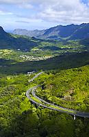 Aerial of Pali Hwy, Mt Olomana, Windward Oahu, Kailua