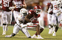 Arkansas running back Trelon Smith (22) carries the ball, Saturday, September 11, 2021 during the third quarter of a football game at Reynolds Razorback Stadium in Fayetteville. Check out nwaonline.com/210912Daily/ for today's photo gallery. <br /> (NWA Democrat-Gazette/Charlie Kaijo)