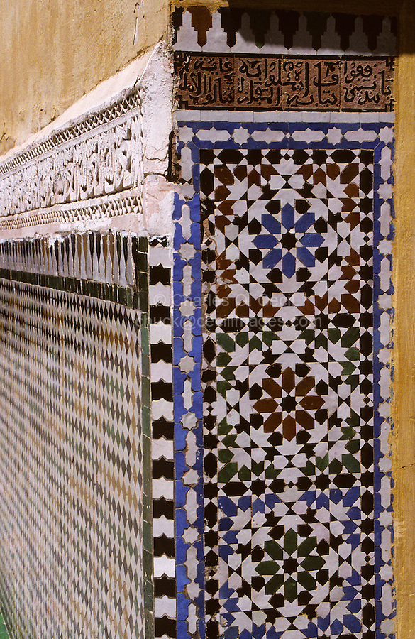 Meknes, Morocco.  Mausoleum of Moulay Ismail.  Zillij Tilework.
