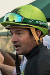 ARCADIA, CA  DECEMBER 26: Kent Desormeaux is all smiles after winning the Mathis Brothers Mile (Grade ll) with #5 Bowies Hero on December 26, 2017 at Santa Anita Park in Arcadia, CA.(Photo by Casey Phillips/ Eclipse Sportswire/ Getty Images)
