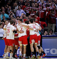 Denmark handball team players celebrate victory in men`s EHF EURO 2012 championship semifinal handball game against Spain in Belgrade, Serbia, Friday, January 27, 2011.  (photo: Pedja Milosavljevic / thepedja@gmail.com / +381641260959)