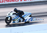 May 30, 2014; Englishtown, NJ, USA; NHRA pro stock motorcycle rider Jerry Savoie during qualifying for the Summernationals at Raceway Park. Mandatory Credit: Mark J. Rebilas-
