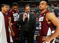 CHARLOTTESVILLE, VA- December 27: Head coach Frankie Allen of the Maryland-Eastern Shore Hawks talks with his players during the game against the Maryland-Eastern Shore Hawks on December 27, 2011 at the John Paul Jones Arena in Charlottesville, Va. Virginia defeated Maryland Eastern Shore 69-42.  (Photo by Andrew Shurtleff/Getty Images) *** Local Caption *** Frankie Allen