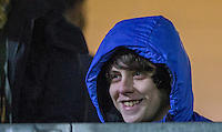 Singer Jake Bugg enjoys the match in the Executive Box during the Sky Bet League 2 match between Wycombe Wanderers and Notts County at Adams Park, High Wycombe, England on 15 December 2015. Photo by Andy Rowland.
