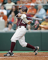 Texas A&M C Kevin Gonzalez bats against Texas on May 16th, 2008 in Austin Texas. Photo by Andrew Woolley / Four Seam images.