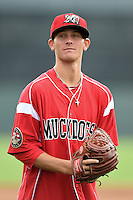 Batavia Muckdogs pitcher Scott Squier (41) poses for a photo before a game against the Jamestown Jammers on July 7, 2014 at Dwyer Stadium in Batavia, New York.  Batavia defeated Jamestown 9-2.  (Mike Janes/Four Seam Images)