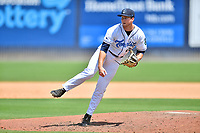 Asheville Tourists pitcher Michael Horrell (26) delivers a pitch during a game against the Greenville Drive on July 18, 2021 at McCormick Field in Asheville, NC. (Tony Farlow/Four Seam Images)