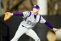 Starting pitcher Jacob McWhirter #31 of the Tennessee Tech Golden Eagles in action against the Charlotte 49ers at Robert and Mariam Hayes Stadium on March 8, 2011 in Charlotte, North Carolina.  Photo by Brian Westerholt / Four Seam Images