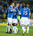 :: RANGERS' KYLE LAFFERTY CELEBRATES AFTER HE SCORES THE THIRD :: .19/04/2011   Copyright  Pic : James Stewart.sct_jsp023_dundee_utd_v_rangers .James Stewart Photography 19 Carronlea Drive, Falkirk. FK2 8DN      Vat Reg No. 607 6932 25.Telephone      : +44 (0)1324 570291 .Mobile              : +44 (0)7721 416997.E-mail  :  jim@jspa.co.uk.If you require further information then contact Jim Stewart on any of the numbers above.........