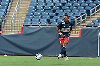 FOXBOROUGH, UNITED STATES - MAY 28: Francois Dulysse #60 of New England Revolution II passes the ball during a game between Fort Lauderdale CF and New England Revolution II at Gillette Stadium on May 28, 2021 in Foxborough, Massachusetts.