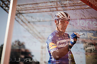 Philippe GILBERT (BEL/Deceuninck-Quick Step) at the sign-on podium at the race start in front of the Castello Sforzesco<br /> <br /> 110th Milano-Sanremo 2019 (ITA)<br /> One day race from Milano to Sanremo (291km)<br /> <br /> ©kramon