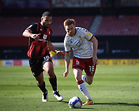 2nd April 2021; Vitality Stadium, Bournemouth, Dorset, England; English Football League Championship Football, Bournemouth Athletic versus Middlesbrough; Duncan Watmore of Middlesbrough competes for the ball with Cameron Carter-Vickers of Bournemouth