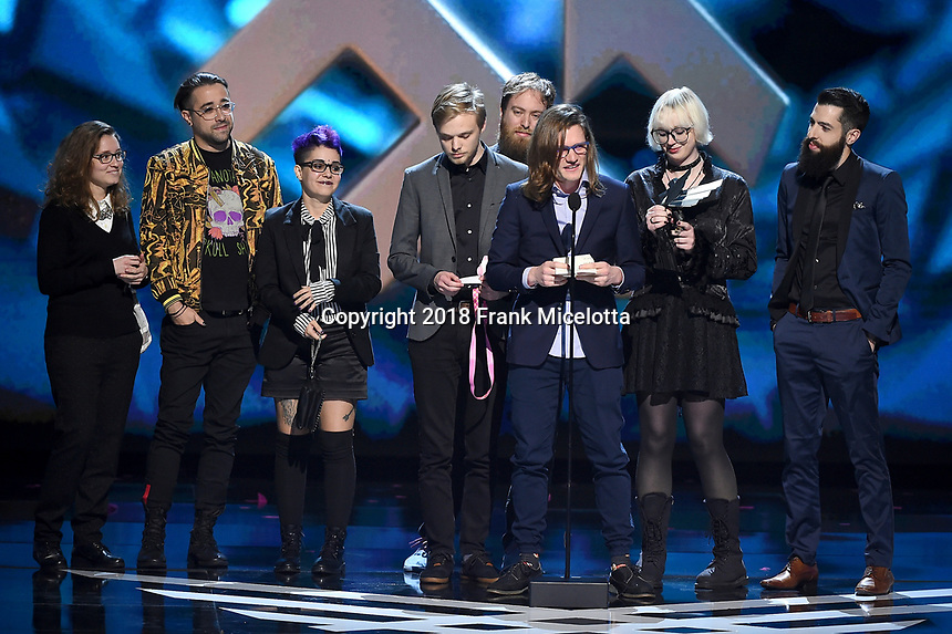 """LOS ANGELES - DECEMBER 6: Matt Thorton an the team of """"Celeste"""" (Matt Makes Games) accepts the Best Independent Game award at the 2018 Game Awards at the Microsoft Theater on December 6, 2018 in Los Angeles, California. (Photo by Frank Micelotta/PictureGroup)"""