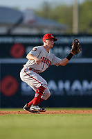 Auburn Doubledays second baseman Phil Caulfield (1) waits for a throw during a NY-Penn League game against the Batavia Muckdogs on June 14, 2019 at Dwyer Stadium in Batavia, New York.  Batavia defeated 2-0.  (Mike Janes/Four Seam Images)