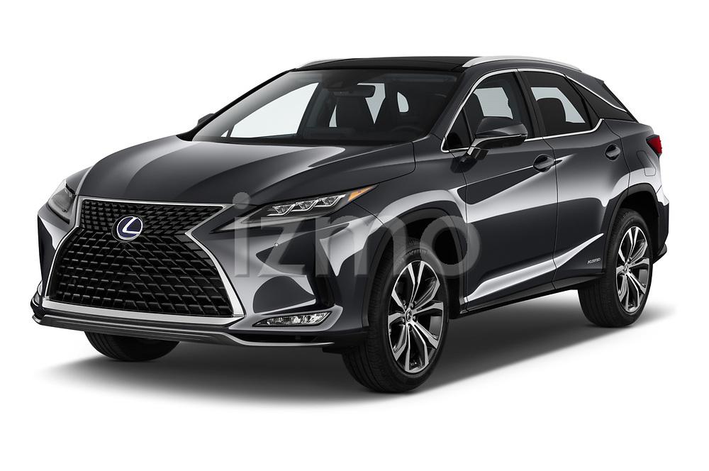 2020 Lexus RX Hybrid 450h 5 Door SUV angular front stock photos of front three quarter view