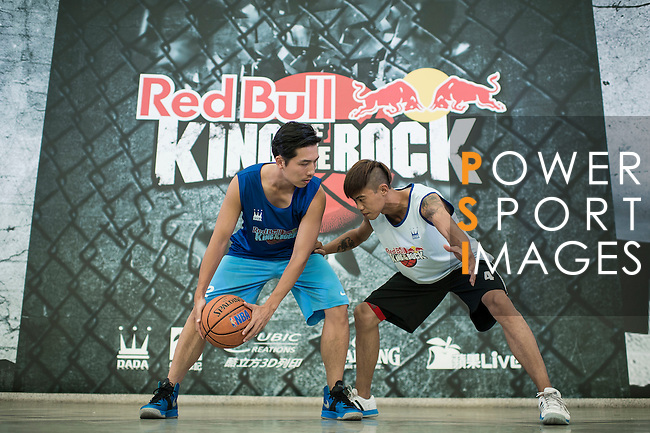 Mo and Blue pose for a portrait ahead the Red Bull King of the Rock Taiwan National Finals on July 18, 2015 at the Kaohsiung University basketball court in Kaohsiung, south Taiwan. Photo by Victor Fraile / Power Sport Images