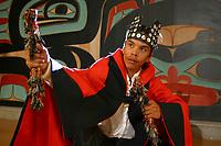 Sheet'ka Kwaan Naa Kahidi dancers perform at the Tlingit, Sitka Tribe of Alaska Community House in Sitka, Alaska