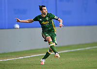 LAKE BUENA VISTA, FL - JULY 18: Diego Valeri #8 of the Portland Timbers watches his pass during a game between Houston Dynamo and Portland Timbers at ESPN Wide World of Sports on July 18, 2020 in Lake Buena Vista, Florida.