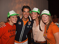 14-sept.-2013,Netherlands, Groningen,  Martini Plaza, Tennis, DavisCup Netherlands-Austria, ,  Dutch Team celebration with students , Jesse Huta Galung with some fans<br /> Photo: Henk Koster