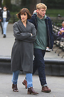 NEW YORK, NY - MAY 4: Elizabeth Henstridge, Tom Rhys Harries on the set of the new Apple Tv series Suspicion at Washington Square Park in New York City on May 04, 2021. <br /> CAP/MPI/RW<br /> ©RW/MPI/Capital Pictures