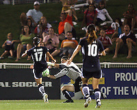 Lisa De Vanna#17 of the Washington Freedom has the ball picked off her toe by Jenni Branam#23 of Sky Blue FC during a WPS match at Maryland Soccerplex on August 8,2009 in Boyds, Maryland. Freedom won 3-1