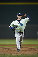Wilmington Blue Rocks relief pitcher J.C. Cloney (37) in action against the Winston-Salem Dash at BB&T Ballpark on April 17, 2019 in Winston-Salem, North Carolina. The Blue Rocks defeated the Dash 2-1. (Brian Westerholt/Four Seam Images)