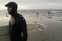 Brock Little leaves the water after his heat during the first round of the 2008 Mavericks Surf Contest from the in Half Moon Bay, Calif., Saturday, January 12, 2008...Photo by David Calvert/isiphotos.com