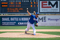 Rancho Cucamonga Quakes Stetson Allie (23) delivers a pitch to the plate against the Visalia Rawhide at LoanMart Field on May 14, 2018 in Rancho Cucamonga, California. The Rawhide defeated the Quakes 5-0.  (Donn Parris/Four Seam Images)