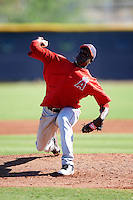 Los Angeles Angels minor league pitcher Alfonso Alcantara #58 during an instrasquad game at the Tempe Diablo Stadium Complex on October 10, 2012 in Tempe, Arizona.  (Mike Janes/Four Seam Images)