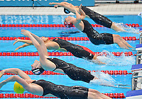 July 30, 2012..L to R: EMILY SEEBOHM of AUS, MISSY FRANKLIN of USA, JING ZHAO of CHN, GEMMA SPOFFORTH of GER AND YUANHUI FUof CHN competes in women's 100m backstroke final event at the Aquatics Center on day three of 2012 Olympic Games England in London, United Kingdom...(Credit Image: © Mohammad Khursheed/Cal port Media)