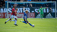 SAN JOSE, CA - APRIL 24: Jackson Yueill #14 of the San Jose Earthquakes passes the ball during a game between FC Dallas and San Jose Earthquakes at PayPal Park on April 24, 2021 in San Jose, California.