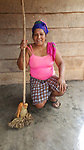 During our visit, when she wasn't grinding coffee beans in a gourd, or preparing our meal, Nancy was often following our footsteps sweeping up.